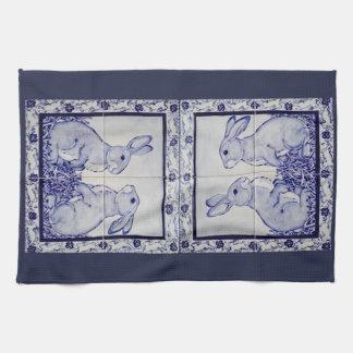 Navy White Rabbit Tile Kitchen Towel Dedham Blue
