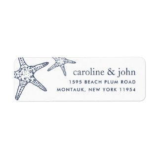 Navy & White Starfish Return Address