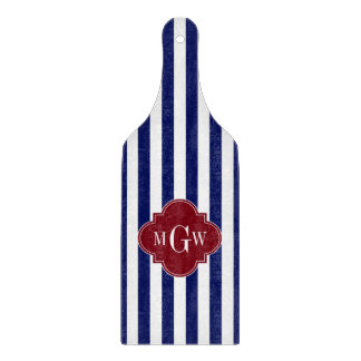 Navy White Stripe Burgundy Quatrefoil 3 Monogram Cutting Board