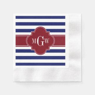 Navy White Stripe Burgundy Quatrefoil 3 Monogram Disposable Napkin