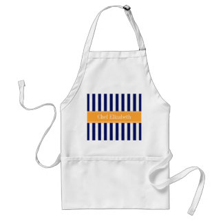 Navy White Stripe Cantaloupe Ribbon Name Monogram Standard Apron