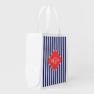 Navy White Stripe Coral Red Quatrefoil 3 Monogram Market Totes
