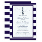 Navy & White Stripe Lighthouse Rehearsal Dinner Card