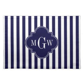 Navy White Stripe Navy Blue Quatrefoil 3 Monogram Placemat