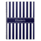 Navy White Stripe Navy Blue Ribbon Name Monogram Notebook