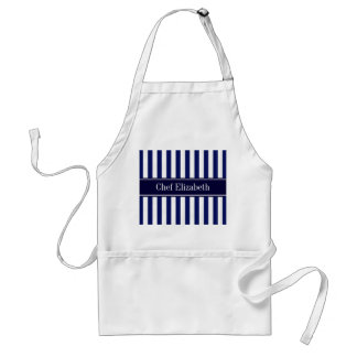 Navy White Stripe Navy Blue Ribbon Name Monogram Standard Apron