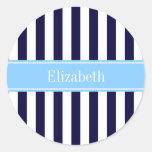Navy White Stripe Sky Blue Ribbon Name Monogram Round Stickers