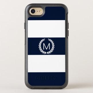 Navy & White Stripe with Laurel Wreath Monogram OtterBox Symmetry iPhone 8/7 Case