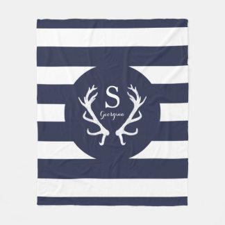 Navy White Stripes Rustic Deer Antlers Monogram Fleece Blanket