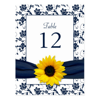 Navy White Sunflower Damask Wedding Table Card Postcard