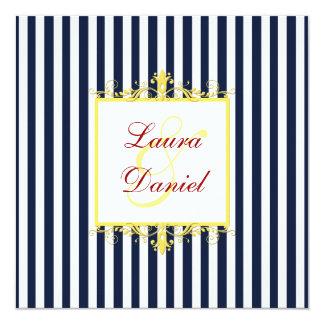 "Navy, White, Yellow, Red Stripes & Scrolls Invite 5.25"" Square Invitation Card"