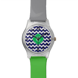 Navy Wht Chevron Emerald Green Quatrefoil Monogram Wristwatch