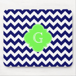 Navy Wht Chevron Lime Green Quatrefoil Monogram Mouse Mat