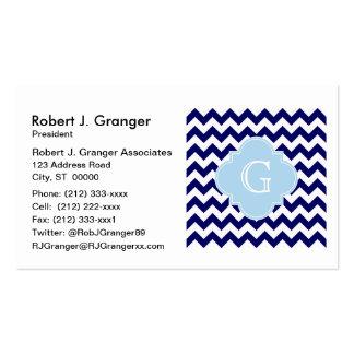 Navy Wht Chevron Lt Blue Quatrefoil Monogram Pack Of Standard Business Cards