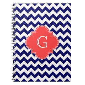 Navy Wht Chevron Zigzag Coral Quatrefoil Monogram Spiral Notebook
