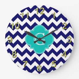 Navy Wht Chevron ZigZag Teal Quatrefoil Monogram Clock