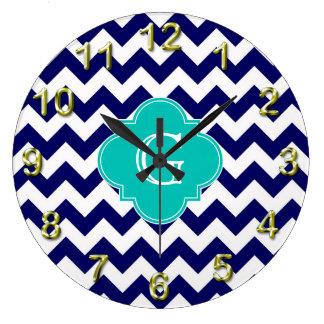 Navy Wht Chevron ZigZag Teal Quatrefoil Monogram Large Clock