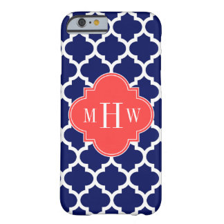 Navy Wht Moroccan #5 Coral Red 3 Initial Monogram Barely There iPhone 6 Case