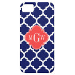 Navy Wht Moroccan #5 Coral Red 3 Initial Monogram iPhone 5 Covers