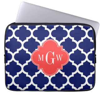 Navy Wht Moroccan #5 Coral Red 3 Initial Monogram Laptop Computer Sleeves