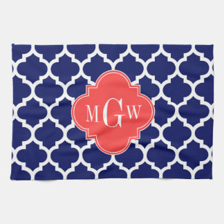 Navy Wht Moroccan #5 Coral Red 3 Initial Monogram Tea Towel