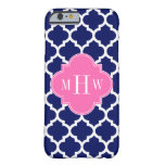 Navy Wht Moroccan #5 Hot Pink2 3 Initial Monogram Barely There iPhone 6 Case