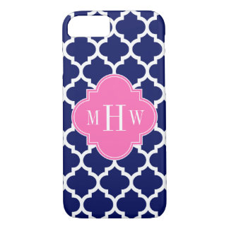 Navy Wht Moroccan #5 Hot Pink2 3 Initial Monogram iPhone 8/7 Case