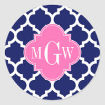 Navy Wht Moroccan #5 Hot Pink2 3 Initial Monogram Round Sticker