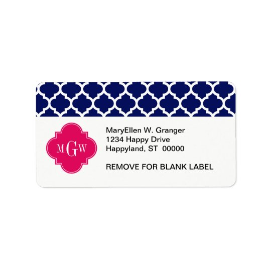Navy Wht Moroccan #5 Raspberry 3 Initial Monogram Address Label