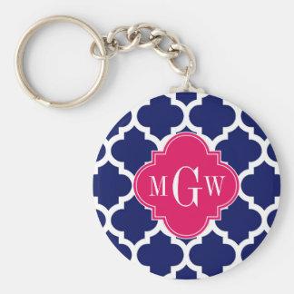 Navy Wht Moroccan #5 Raspberry 3 Initial Monogram Key Ring