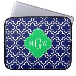 Navy Wht Moroccan #6 Emerald 3 Initial Monogram Laptop Sleeve