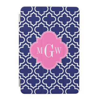 Navy Wht Moroccan #6 Hot Pink 3 Initial Monogram iPad Mini Cover