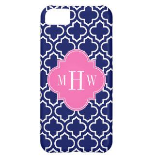 Navy Wht Moroccan #6 Hot Pink 3 Initial Monogram iPhone 5C Case