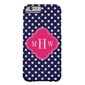 Navy Wht Polka Dot Raspberry Quatrefoil 3 Monogram Barely There iPhone 6 Case