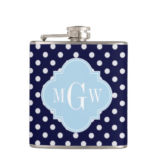Navy Wht Polka Dots Lt Blue Quatrefoil 3 Monogram Hip Flask