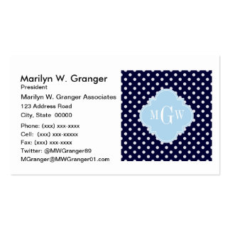 Navy Wht Polka Dots Lt Blue Quatrefoil 3 Monogram Pack Of Standard Business Cards
