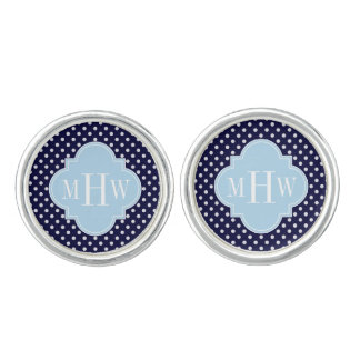 Navy Wht Polka Dots Lt Blue Quatrefoil 3 Monogram Cufflinks