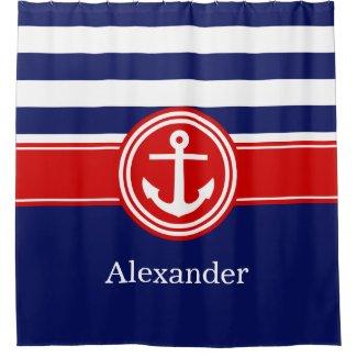 Navy Wht Red Rugby Stripe Anchor CB Monogram Shower Curtain