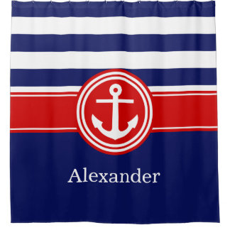 Navy Wht Red Rugby Stripe Anchor CB Monogram Shower Curtain