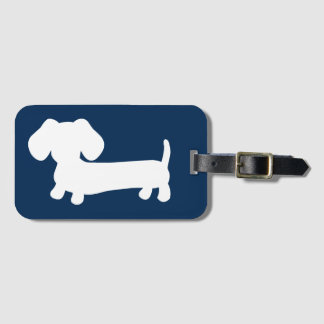 Navy Wiener Dog Luggage Bag Tag Gift