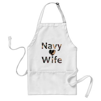 Navy Wife Heart Camo Aprons