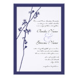 Navy Wild Flower Branches Wedding Invitation