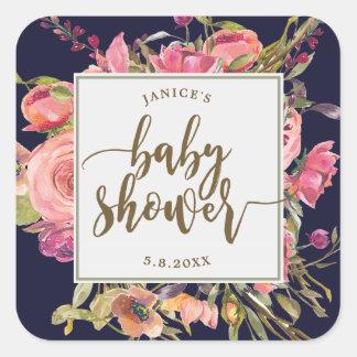 navy wildflower floral baby shower sticker favours