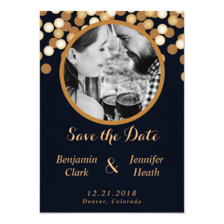 Navy with Gold Dots Save the Date Card