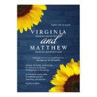 Navy Wood and Sunflower Wedding Invitations