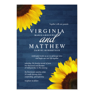 Navy Wood and Sunflower Wedding Invitations