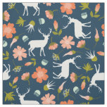 Navy Woodland Deer and Floral Fabric