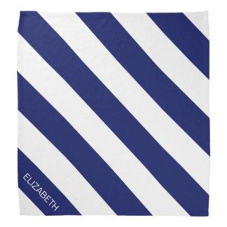 Navy Wt Horizontal Preppy Stripe #2 Name Monogram Bandana