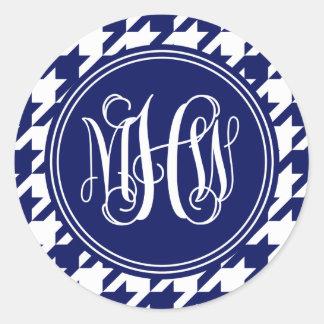 Navy Wt Houndstooth Navy 3 Init Vine Monogram Stickers