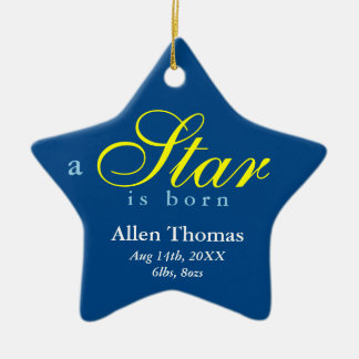 Navy yellow a star is born baby name announcement christmas ornament